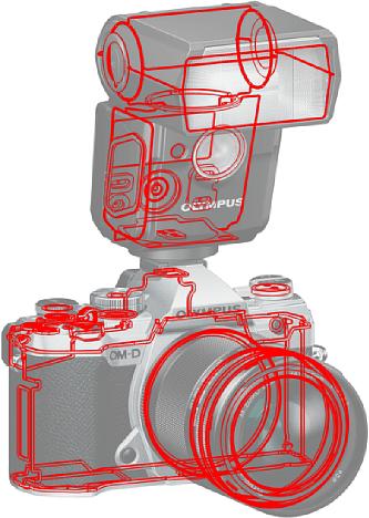 Bild Auch wenn das Gehäuse der Olympus OM-D E-M5 Mark III lediglich aus Kunststoff besteht, ist es komplett gegen Witterungseinflüsse abgedichtet. [Foto: Olympus]