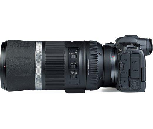 Bild An der Seite bietet das Canon RF 600 mm F11 IS STM drei Schalter, um den Fokus und Bildstabilisator zu kontrollieren. [Foto: MediaNord]