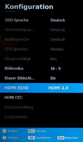 Bild Falls die HDMI-Eingänge standardmäßig auf HDMI 1.4 eingestellt sind (wie bei unserem Testgerät von Medion), sollten diese auf HDMI 2.0 umgestellt werden, damit angeschlossene Signalquellen nicht begrenzt werden. [Foto: MediaNord]
