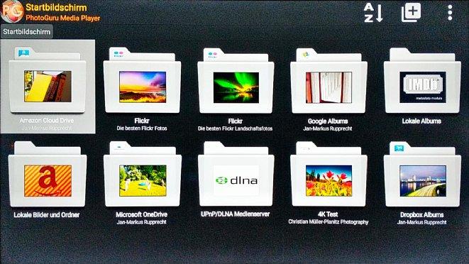 """Bild Der PhotoGuru Medienplayer ermöglicht den Zugriff auf zahlreiche Quellen. Diese müssen bzw. können für jeweils 3 bis 4 Euro einzeln """"freigekauft"""" werden. [Foto: MediaNord]"""