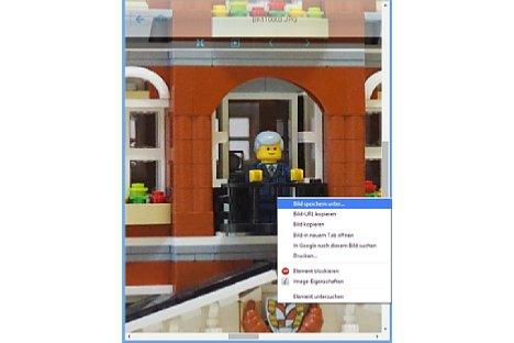 Bild Wird ein Bild ausgewählt und vergrößert angezeigt, so kann es über den Browser gespeichert werden. [Foto: MediaNord]