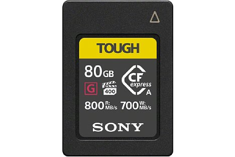 Bild Die Speicherkarte SonyCEA-G80T CFexpress Typ A bietet nicht nur hohe Datentransferraten, sondern auch eine hohe Wärmeableitfähigkeit und eine große Robustheit nach IP57.