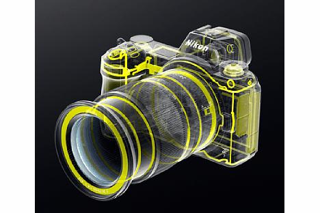 Bild Zudem schützen zahlreiche Dichtungen das Innere der Nikon Z 6 und Z 7 sowie des Objektivs (hier das 24-70 mm F4) vor dem Eindringen von Staub und Feuchtigkeit. [Foto: Nikon]