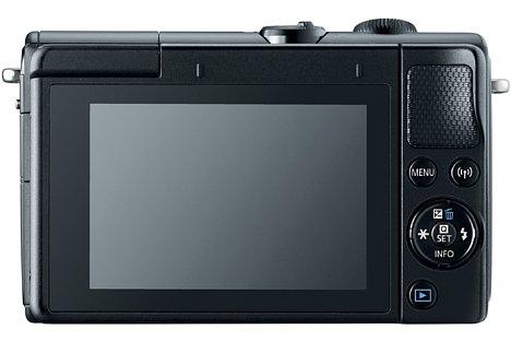 Bild Der 7,5 Zentimeter große Touchscreen der Canon EOS M100 lässt sich um bis zu 180 Grad nach oben klappen, was nicht nur bodennahe Aufnahmen vereinfacht, sondern auch Selfies. [Foto: Canon]