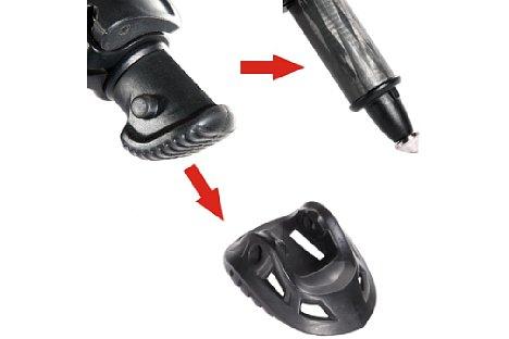 Bild Ein gutes Stativ sollte Spike und auch Gummifüsse haben, bei denen es möglich ist schnell von Spikes zu Gummifüssen zu wechseln. [Foto: Vanguard]