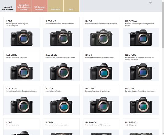 Bild Die Kamerauswahl beim Sony Objektivsimulator ist umfangreich. [Foto: MediaNord]