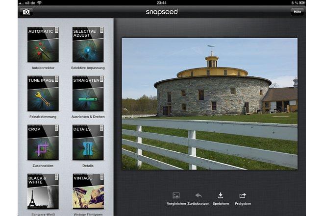 Bild Filter-Übersicht des Snapseed-Startbildschirms [Foto: Ralf Spoerer]