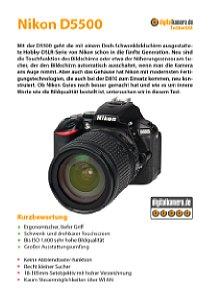 Bild Ausführlicher digitalkamera.de-Testbericht zur Nikon D5500 als 32-seitiges PDF-Dokument. [Foto: MediaNord]