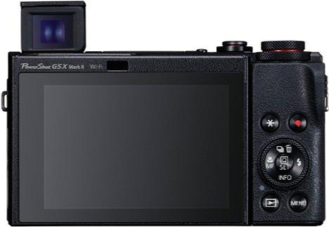 Bild Die Canon PowerShot G5 X Mark II kupfert den praktischen Pop-Up-Sucher der Sony-RX100-Serie ab, wodurch die Kamera gegenüber dem Vorgängermodell (mit Sucherbuckel) deutlich kompakter geworden ist. [Foto: Canon]