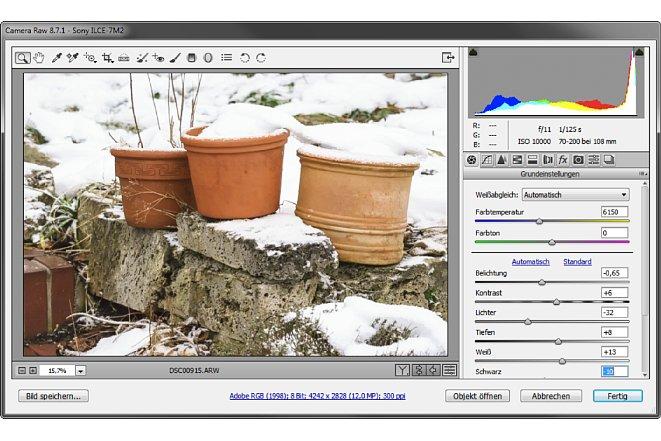 Bild Im Raw-Konverter (hier Adobe Camera Raw) reduzieren Sie die Belichtung wieder soweit, dass die Bildhelligkeit insgesamt Ihren Wünschen entspricht. [Foto: Martin Vieten]