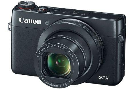 Bild Die Canon PowerShot G7 X besitzt ein F1,8-2,8 lichtstarkes 4,2-fach-Zoom und deckt damit einen kleinbildäquivalenten Brennweitenbereich von 24-100 Millimeter ab. Verwackelungen reduziert der 5-Achsen-Bildstabilisator. [Foto: Canon]