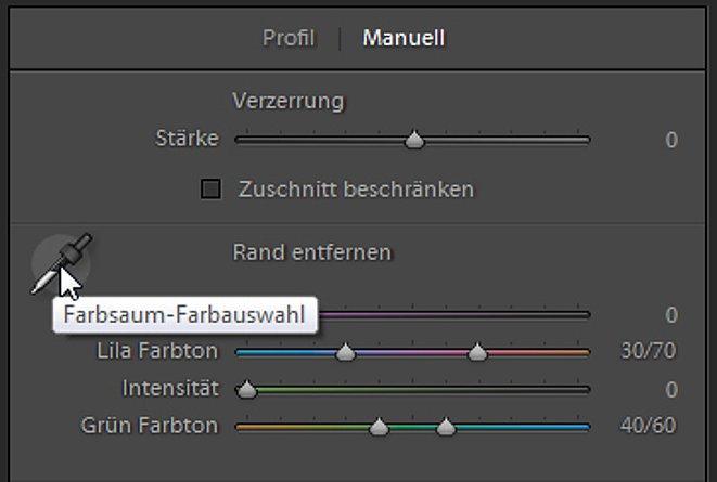 Bild Alternativ kann der Bildbearbeiter auch den Farbsaum mit der Pipette auswählen. [Foto: Markt+Technik]