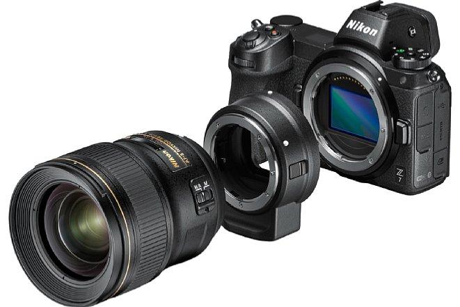 Bild Der FTZ-Bajonettadapter erlaubt den Anschluss von AF-S- und AF-P-Nikkoren an die Z 6 und Z 7, hier das AF-S 28 mm F1.4. [Foto: Nikon]