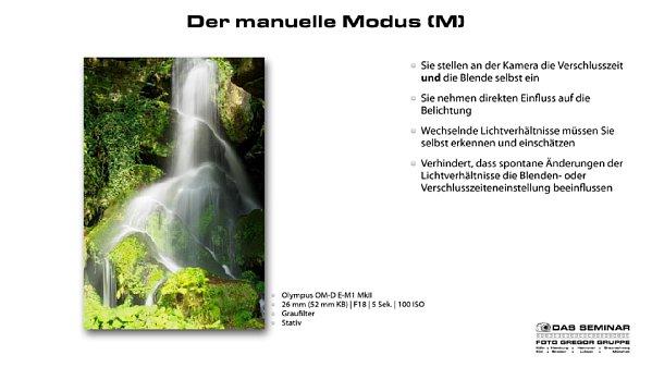 """Bild Auszug aus der in dem Kamerakurs für Fortgeschrittene verwendeten Präsentation. Hier eine Seite aus dem Kapitel """"Der manuelle Modus"""". [Foto: Foto Gregor Gruppe]"""
