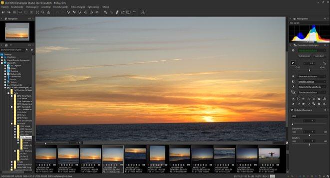 Bild DieArbeitsoberfläche von Silkypix Developer Studio Pro 9 ist übersichtlich und zeigt eine Vielzahl von Werkzeugen, die sich auf Wunsch frei positionieren und speichern lassen. [Foto: MediaNord]
