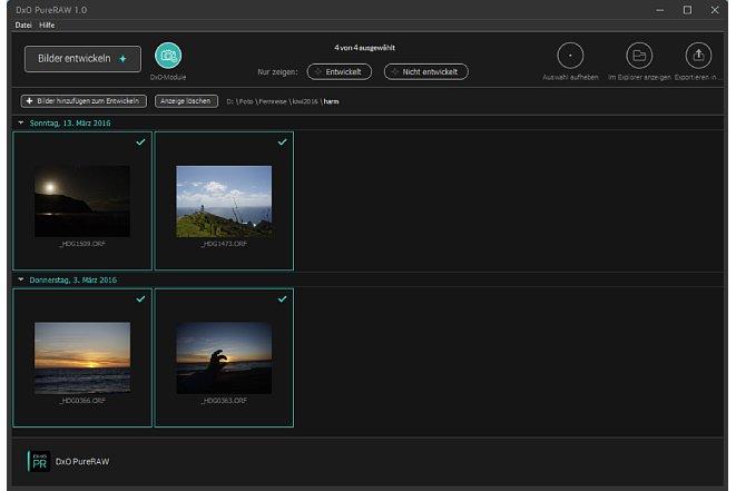 """Bild Ist das Herunterladen der Korrekturprofile erledigt, kann der Bildbearbeiter mit einem Klick auf """"Bilder entwickeln"""" den Bearbeitungsprozess fortschreiten lassen. [Foto: MediaNord]"""