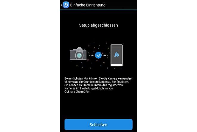 Bild Nach kurzer Zeit ist die einmalige Einrichtung der Verbindung zwischen App und Kamera erledigt. [Foto: MediaNord]