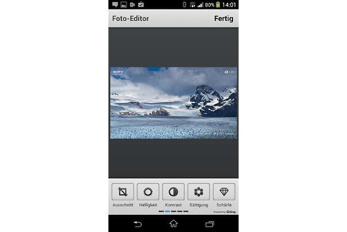 Bild Der Photo Editor+ bietet die gleichen Werkzeuge wie das Original von Aviary in anderer Reihenfolge. [Foto: MediaNord]