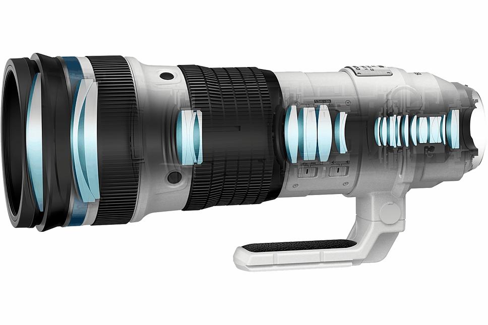 Bild Der optische Aufbau des Olympus 150-400 mm 4.5 ED TC1.25x IS Pro setzt sich aus 28 Linsen zusammen, die in 18 Gruppen angeordnet sind. [Foto: Olympus]