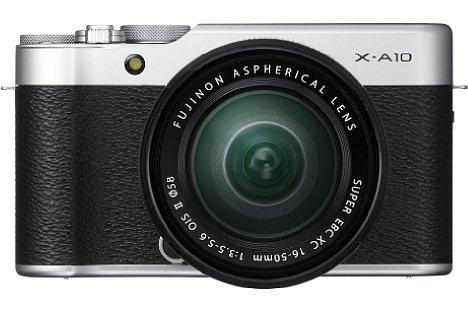 Bild Die 330 Gramm leichte und kompakte Fujifilm X-A10 ist in einem schlichten Retro-Look gehalten. [Foto: Fujifilm]