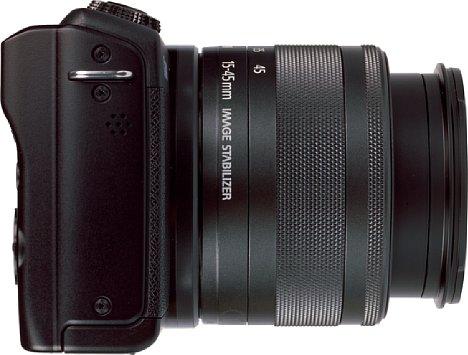 Bild Die rechte Seite der Canon EOS M200 ist frei von Anschlüssen und Bedienelementen. [Foto: MediaNord]