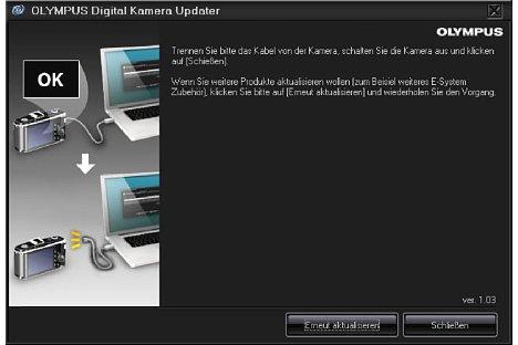 Bild Nach der erfolgten Aktualisierung kann die Software beendet oder weitere Kameras beziehungsweise Objektive aktualisiert werden. [Foto: MediaNord]