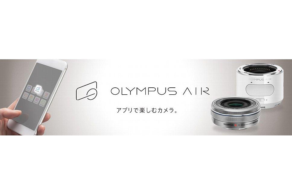 Bild Das stylische Äußere der Olympus Air Smartphone-Zusatzkamera setzt sich auch im Schriftzug und Logo des Produkt fort. [Foto: Olympus Japan]