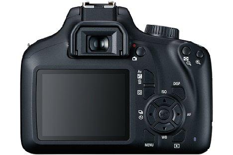 Bild Sparen auf der Rückseite der Canon EOS 4000D: Der Bildschirm ist 6,8 Zentimeter klein und die Tasten sind nicht bedruckt, stattdessen stehen die Funktionen auf den Gehäuse. [Foto: Canon]