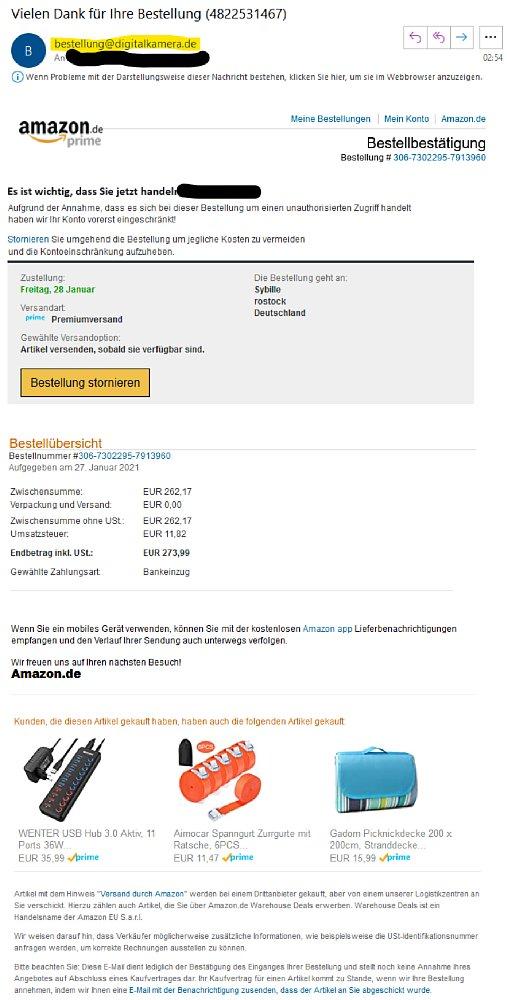 Bild Phishing-E-Mail mit digitalkamera.de-Absender. [Foto: MediaNord]