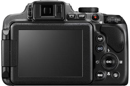 Bild Der drei Zoll große Monitor der Nikon Coolpix P610 löst 921.000 Bildpunkte auf, ebenso der elektronische Sucher. Der Bildschirm ist zudem dreh- und neigbar. [Foto: Nikon]