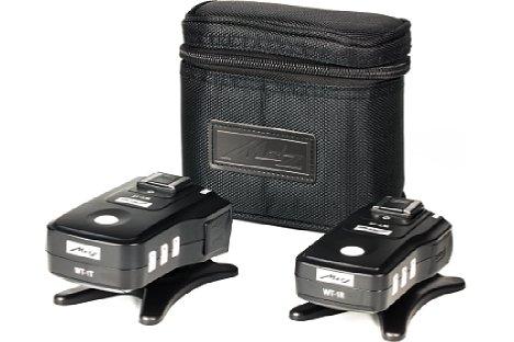 Bild Zum Metz WT-1 Kit gehören der Transceiver und der Emfpänger, zwei Standfüße und eine Transporttasche. [Foto: MediaNord]