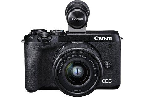 Bild Einen eingebauten Sucher hat die Canon EOS M6 Mark II nicht – sehr ungewöhnlich in ihrer Preis- und Leistungs-Klasse. Im Set mit dem EF-M 15-45 mm 1:3.5-6.3 IS STM ist aber der Aufstecksucher EVF-DC2 mit dabei. [Foto: Canon]