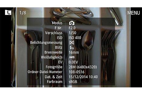 Bild Im Wiedergabemodus blendet die Samsung NX1 bei Bedarf eine Vielzahl an Informationen ein. [Foto: Martin Vieten]