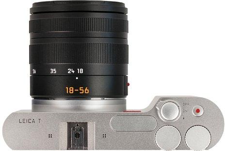 Bild Als einzige Bedienelemente bietet die Leica T (Typ 701) einen ringförmigen Einschaltknopf mit Blitzentriegelung, den Auslöser sowie zwei Drehräder. [Foto: MediaNord]