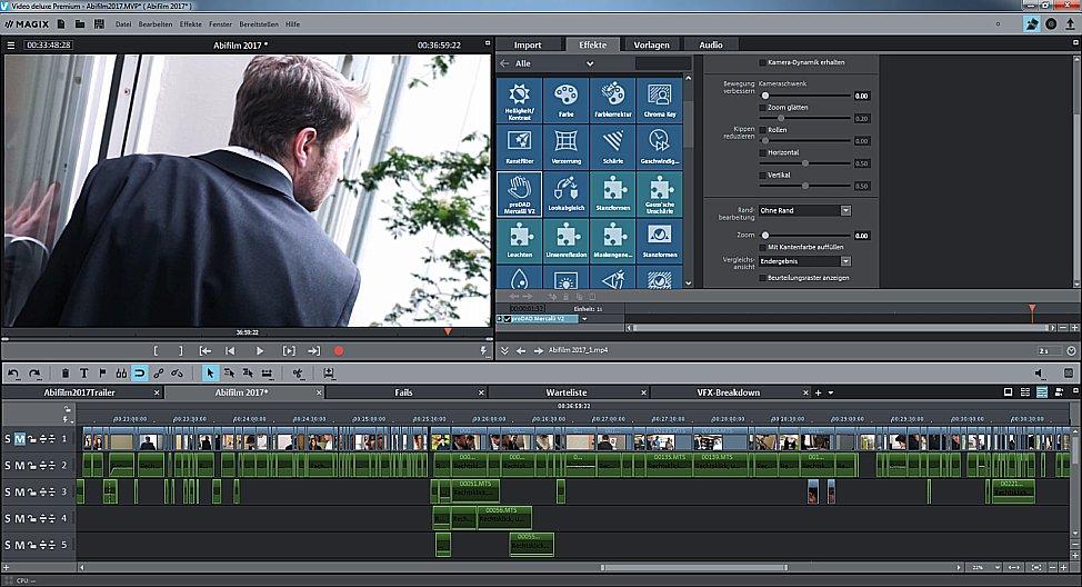Bild Magix Video Deluxe bietet dir Schnitt, wie du ihn brauchst – neben dem hier abgebildeten Timeline-Modus gibt es eine verinfachte Storyboard-Ansicht. [Foto: MediaNord]