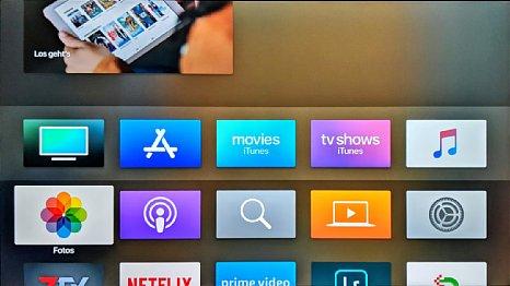 Bild Hier die alternativ einstellbare dunkle Version der Bedienoberfläche des Apple TV. [Foto: MediaNord]