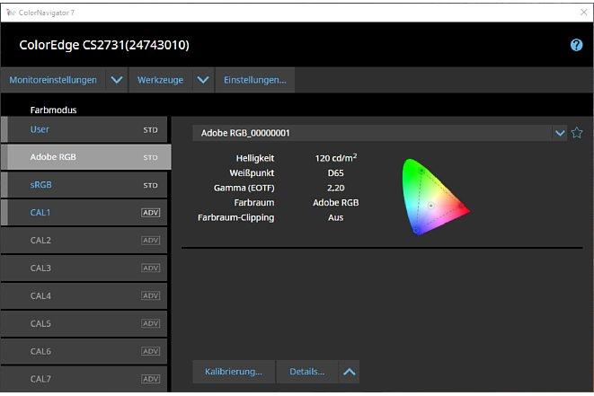 Bild Im ColorNavigator 7 kann der Anwender die voreingestellten Profile nachkalibrieren oder eigene Kalibrationsziele (Targets) auswählen. [Foto: MediaNord]