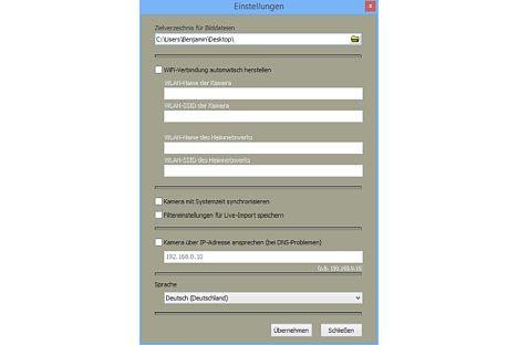 Bild In Camera Control können einige Grundeinstellungen vorgenommen werden, beispielsweise um das Standardverzeichnis für die Bildübertragung festzulegen. [Foto: MediaNord]