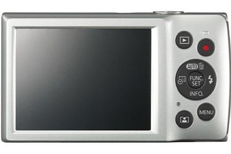 """Bild Auf der Rückseite verfügt die Canon Ixus 185 über einen 6,8 Zentimeter großen Bildschirm. Mit der Datumstaste lässt sich der Aufnahmezeitpunkt fest ins Bild """"einbrennen"""". [Foto: Canon]"""