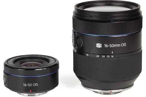 Bild Obwohl sie denselben Brennweitenbereich abdecken, sind dasSamsung NX Lens 16-50 mm F3.5-5.6 Power Zoom ED OIS und das Samsung NX Lens 16-50 mm F2-2.8 S ED OIS zwei ungleiche Geschwister. [Foto: MediaNord]