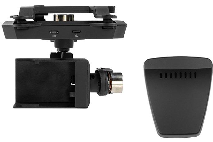 Bild Der Gimbal-Kopf der Xplorer G Version für GoPro Actioncams. Rechts ist der Range Extender zu sehen, der hinten an die Fernbedienung gesteckt wird. [Foto: Xiro]