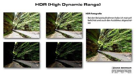 """Bild Auszug aus der in dem Kamerakurs für Fortgeschrittene verwendeten Präsentation. Hier eine Seite aus dem Kapitel""""HDR (High Dynamic Range)"""". [Foto: Foto Gregor Gruppe]"""